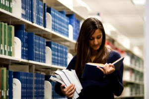 Female student in college library